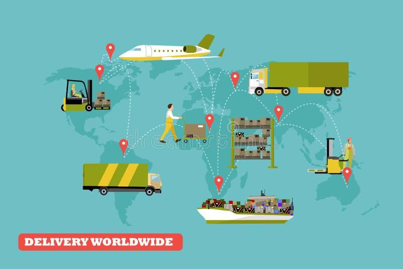 Logistycznie i doręczeniowa pojęcie wektoru ilustracja Set powietrze, ciężarówki, statku transport royalty ilustracja