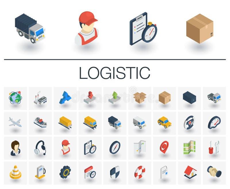 Logistycznie i dystrybucja isometric ikony 3d wektor ilustracji