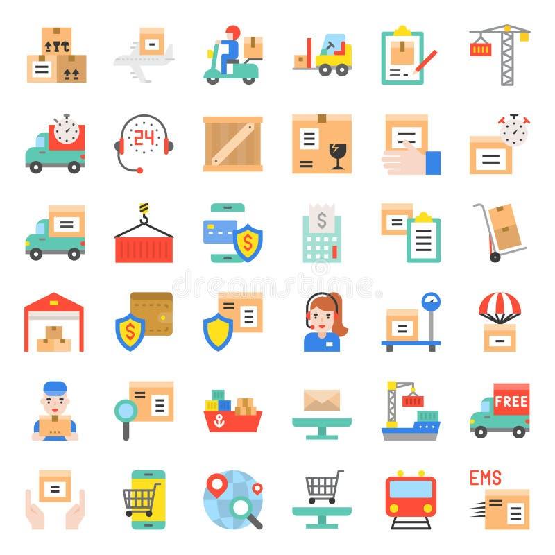Logistycznie i wysyłki biznesu ikona, płaski projekta wektor ilustracja wektor