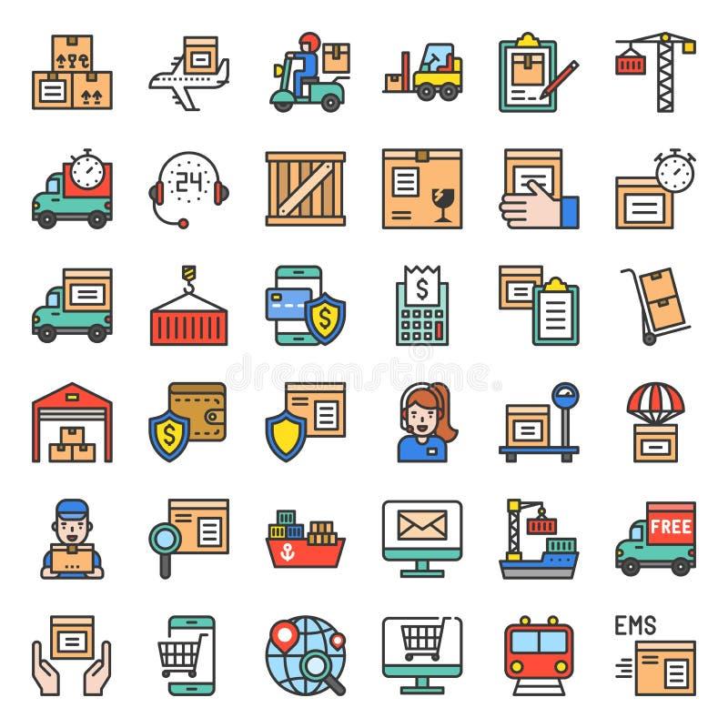 Logistycznie i wysyłki biznesu ikona, wypełniający konturu projekt royalty ilustracja