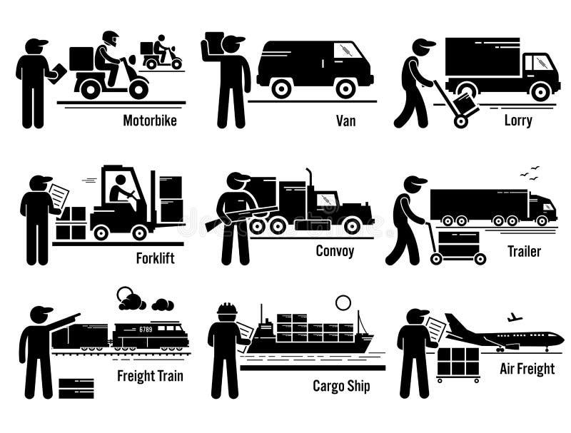 Logistycznie transportów pojazdy Ustawiają Clipart royalty ilustracja