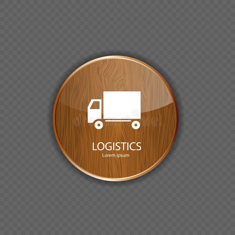 Logistyk drewniane podaniowe ikony ilustracja wektor