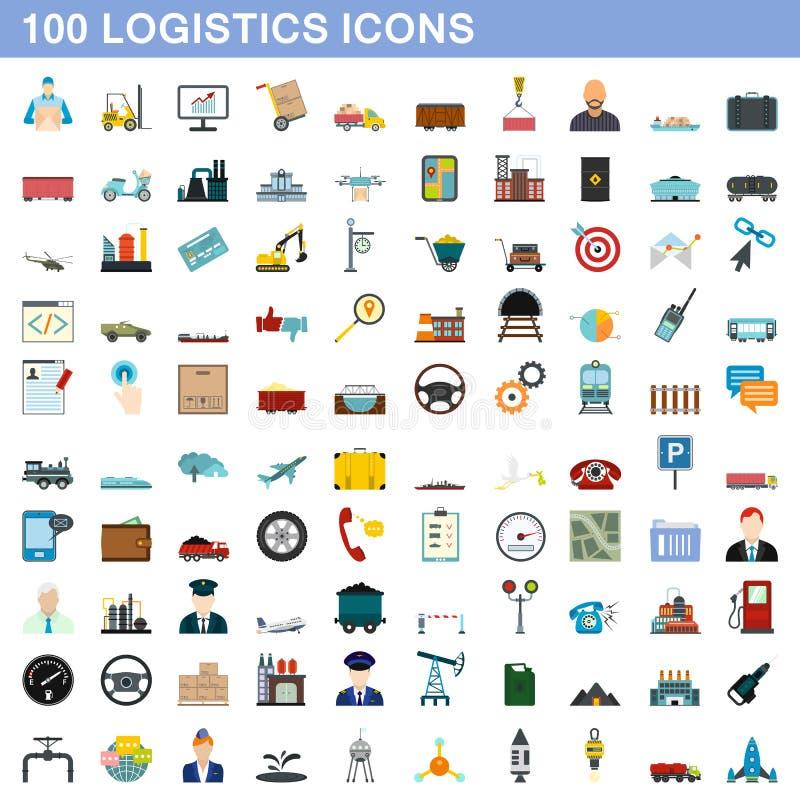 100 logistyk ikon ustawiających, mieszkanie styl royalty ilustracja