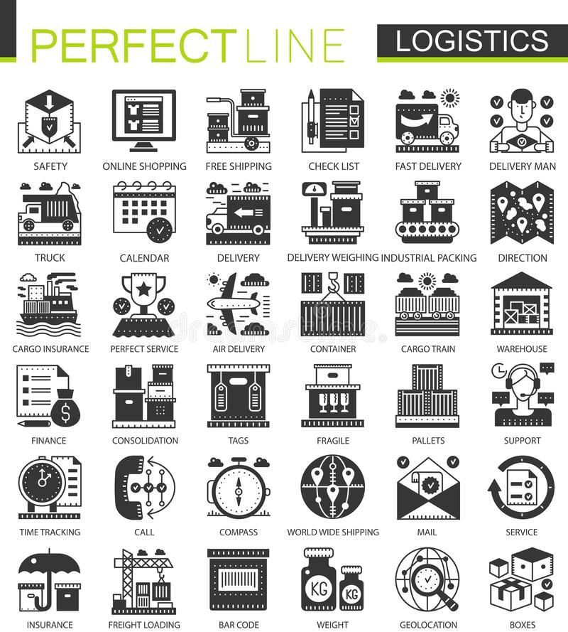 Logistyka transportu czerni pojęcia mini ikony i infographic symbole ustawiający royalty ilustracja