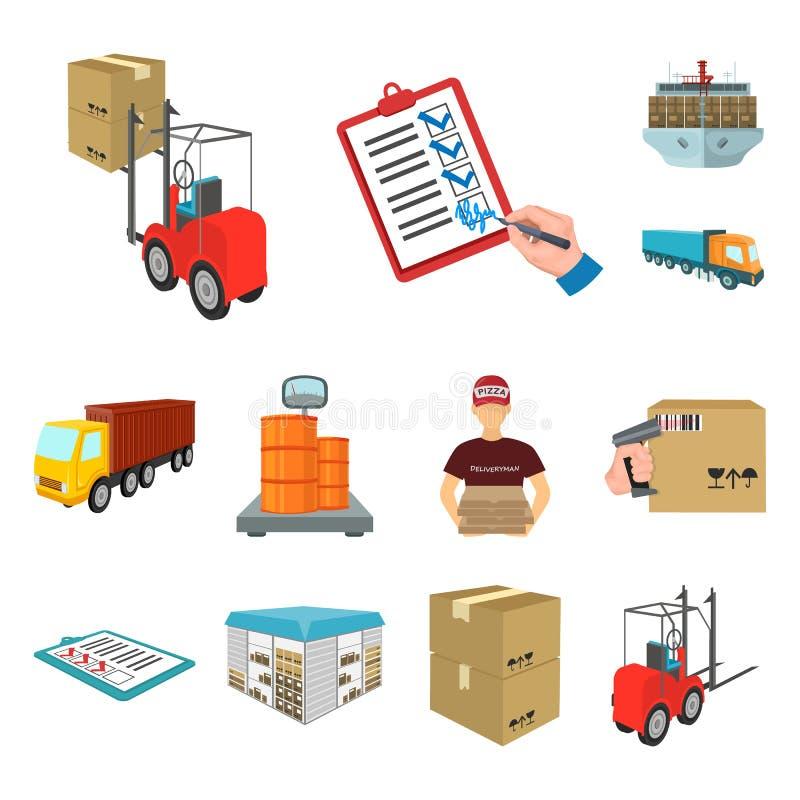 Logistyki i doręczeniowe kreskówek ikony w ustalonej kolekci dla projekta Transportu i wyposażenia symbolu isometric wektorowy za royalty ilustracja