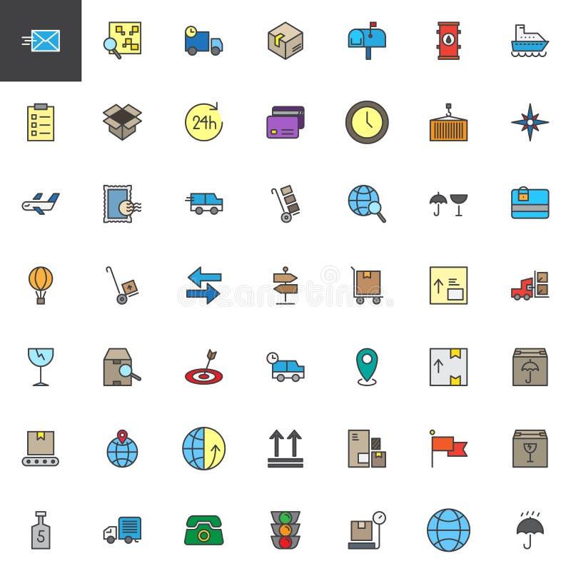 Logistyki i dostawy wypełniać kontur ikony ustawiający royalty ilustracja