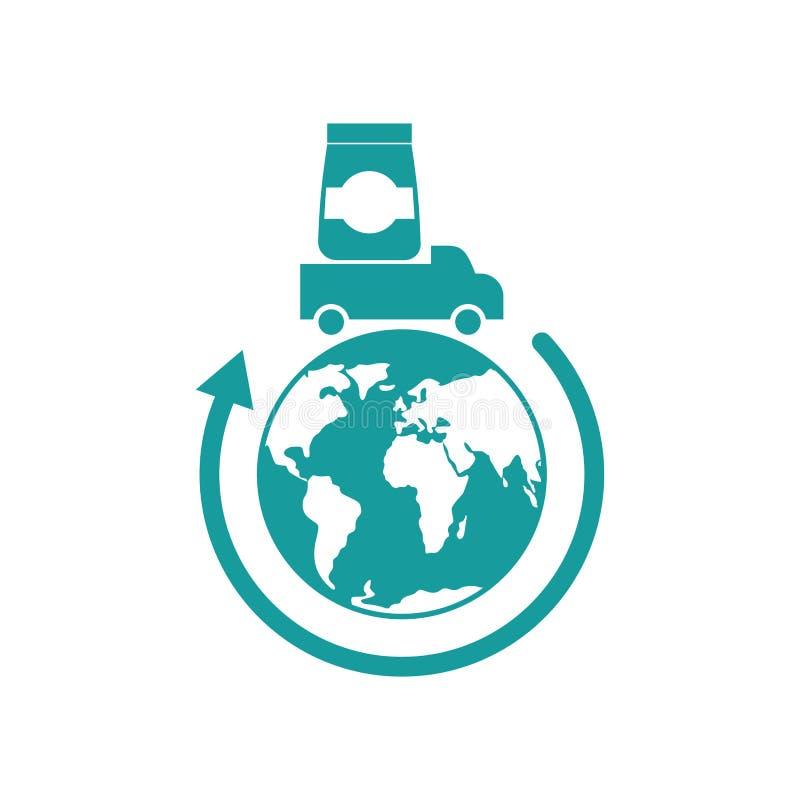 Logistyki ikona Dostawa znak ciężarówka niesie towary ziemię royalty ilustracja