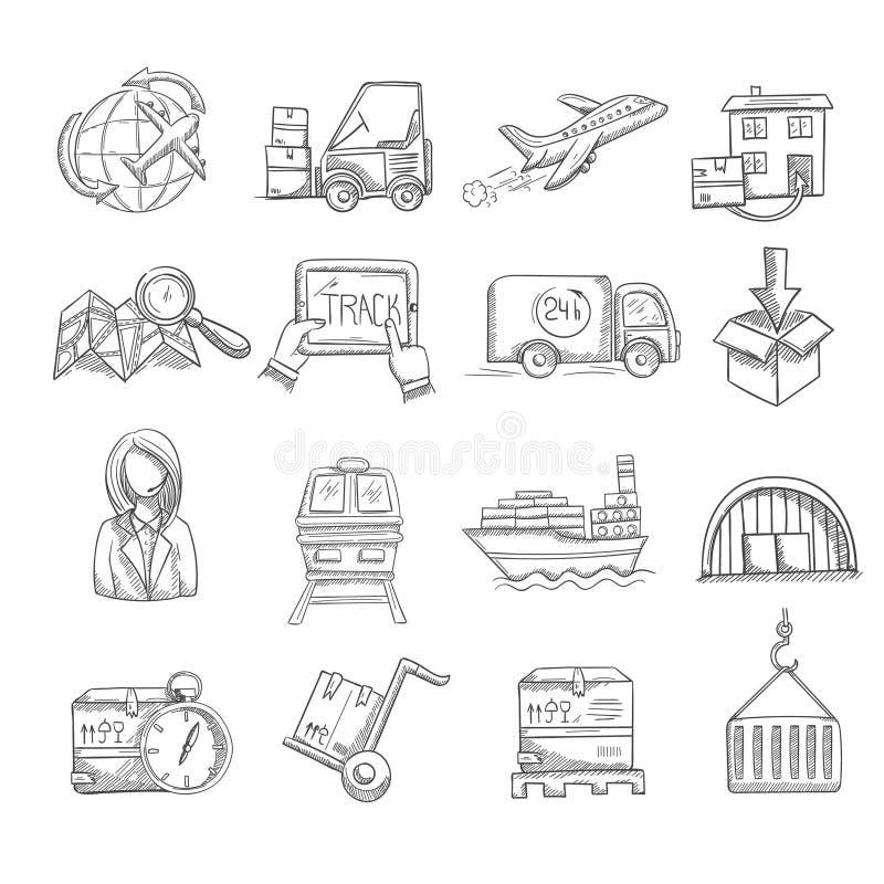 Logistyki nakreślenia set royalty ilustracja