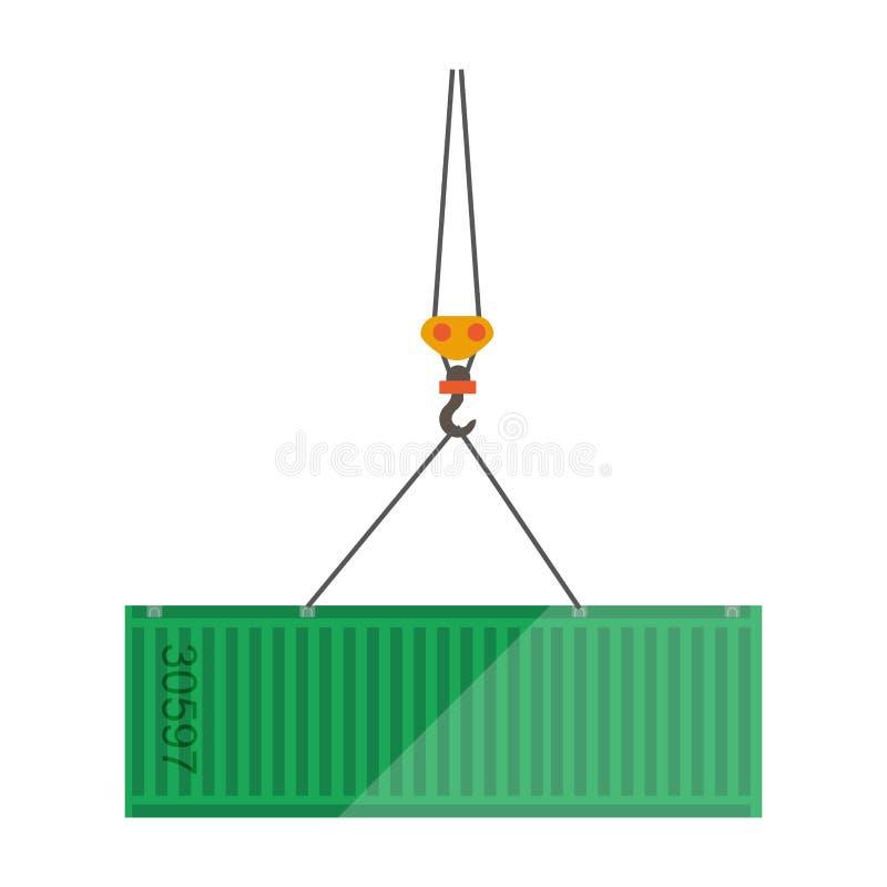 Logistyki płaska wektorowa ikona metalu zbiornik i transportu żuraw ilustracja wektor