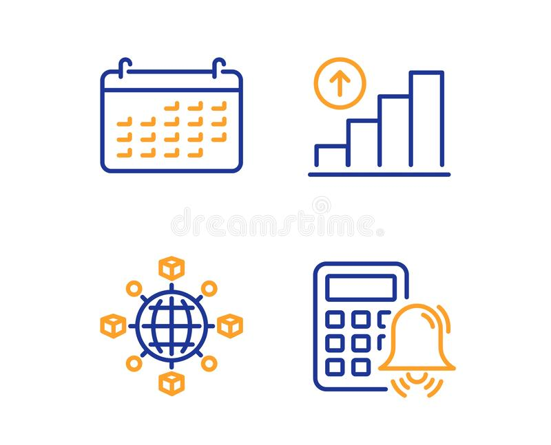 Logistyki sieć, kalendarz i wykres, sporządzamy mapę ikony ustawiać Kalkulatora alarma znak wektor ilustracja wektor