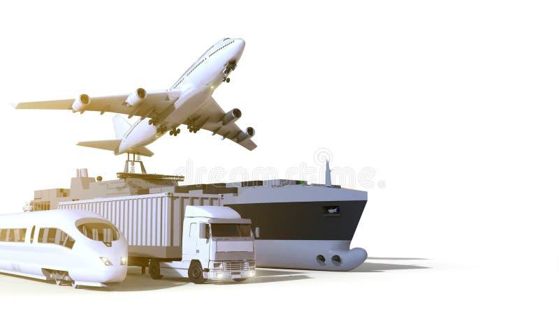 Logistyki, transport, ciężarówka, Wysoki prędkość pociąg, łódź i samolot, dalej odizolowywają tło zdjęcia stock