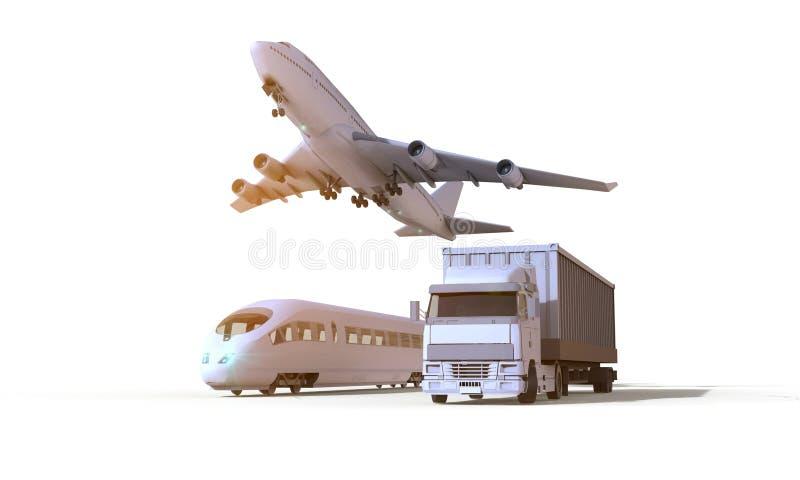 Logistyki, transportu pojazd, ciężarówka, pociąg i samolot w frachtowym ładunku, dalej odizolowywają tło royalty ilustracja