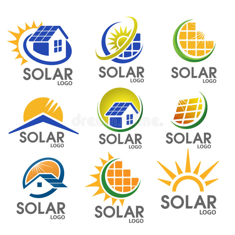Logo à énergie solaire illustration de vecteur