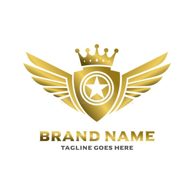 Logo à ailes de bouclier illustration libre de droits