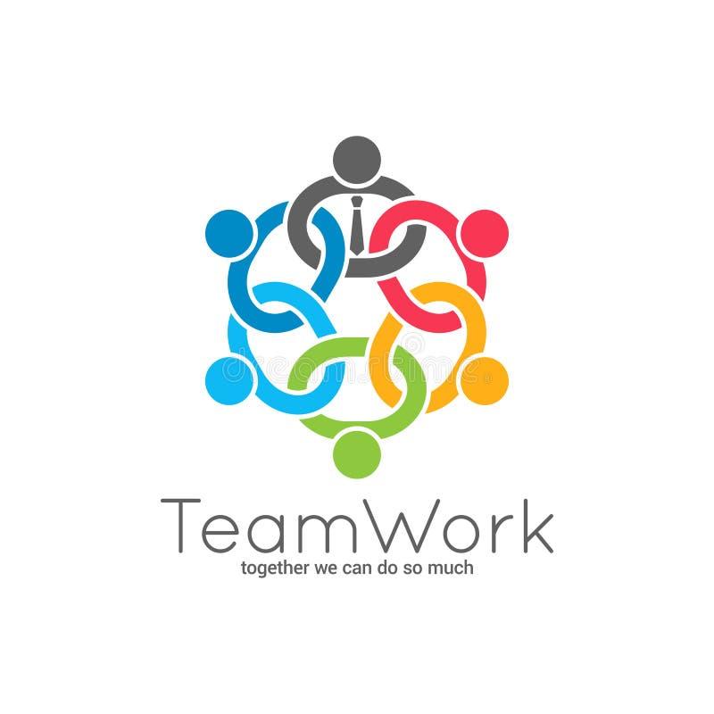 Logo à chaînes de travail d'équipe Icône de concept des syndicats d'équipe d'affaires sur le fond blanc illustration libre de droits