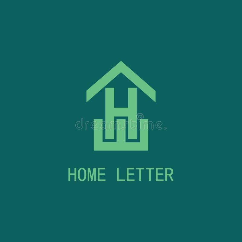 Logo à la maison de la lettre H illustration stock