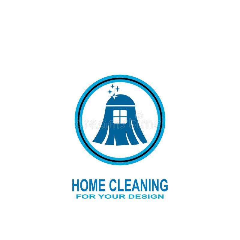 Logo à la maison de nettoyage, icône de service de nettoyage illustration de vecteur