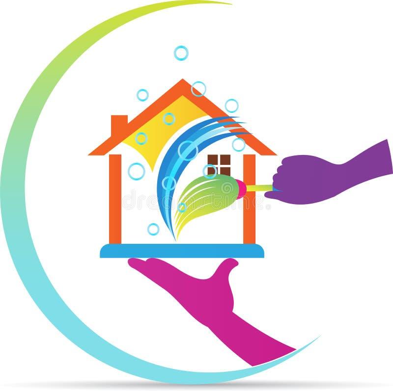 Logo à la maison de service de nettoyage illustration stock
