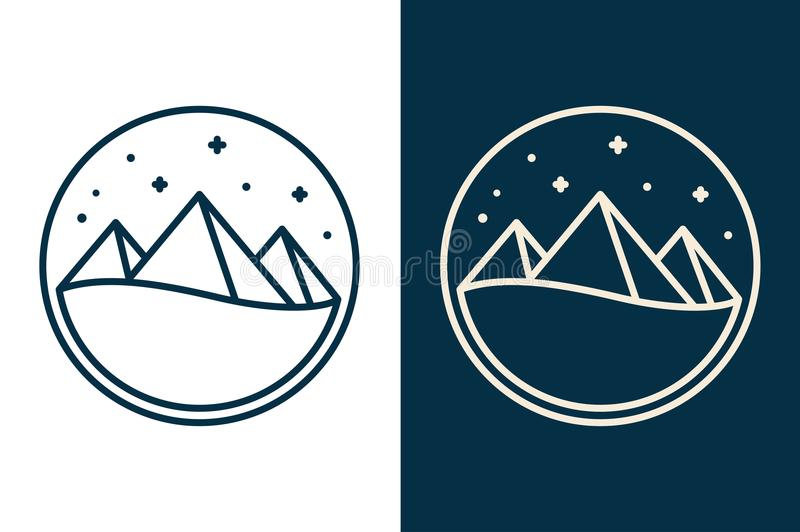 Logo égyptien de pyramides illustration stock