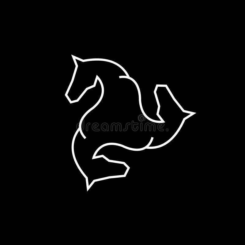 Logo équin de vecteur Logo de vecteur de cheval Logo triple illustration libre de droits