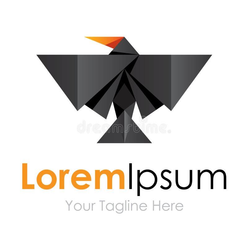 Logo étonnant sauvage animal d'icône d'éléments de concept de construction d'oiseau noir illustration stock
