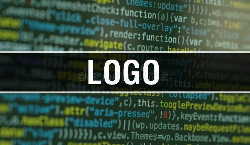 LOGO с двоичным кодом технологии Abstract Цифровые двоичные данные и безопасная концепция данных Программное обеспечение / Веб-ра иллюстрация вектора