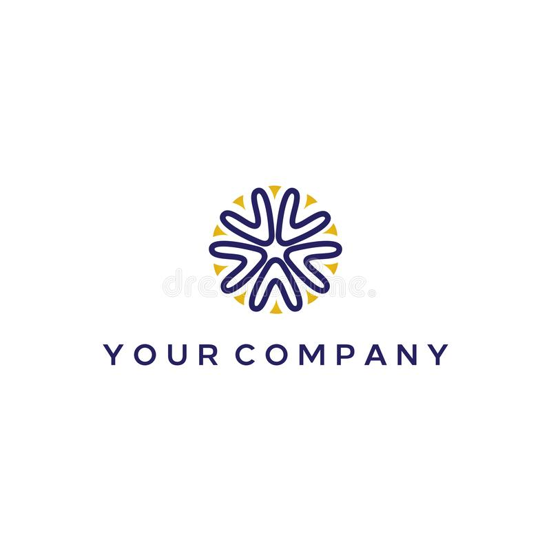 Elegant logo design with A and V letter forming starfish or Coral reefs stock illustration