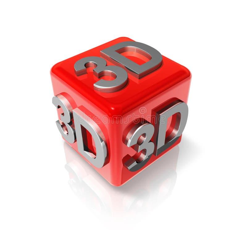 logo 3D sur un cube rouge illustration libre de droits