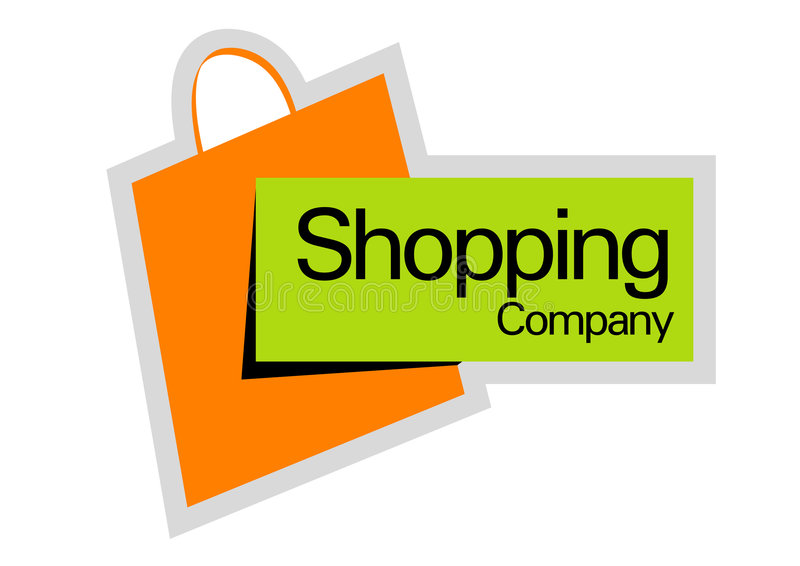 Shopping company logo. An illustration of a company logo with a shopping bag stock illustration