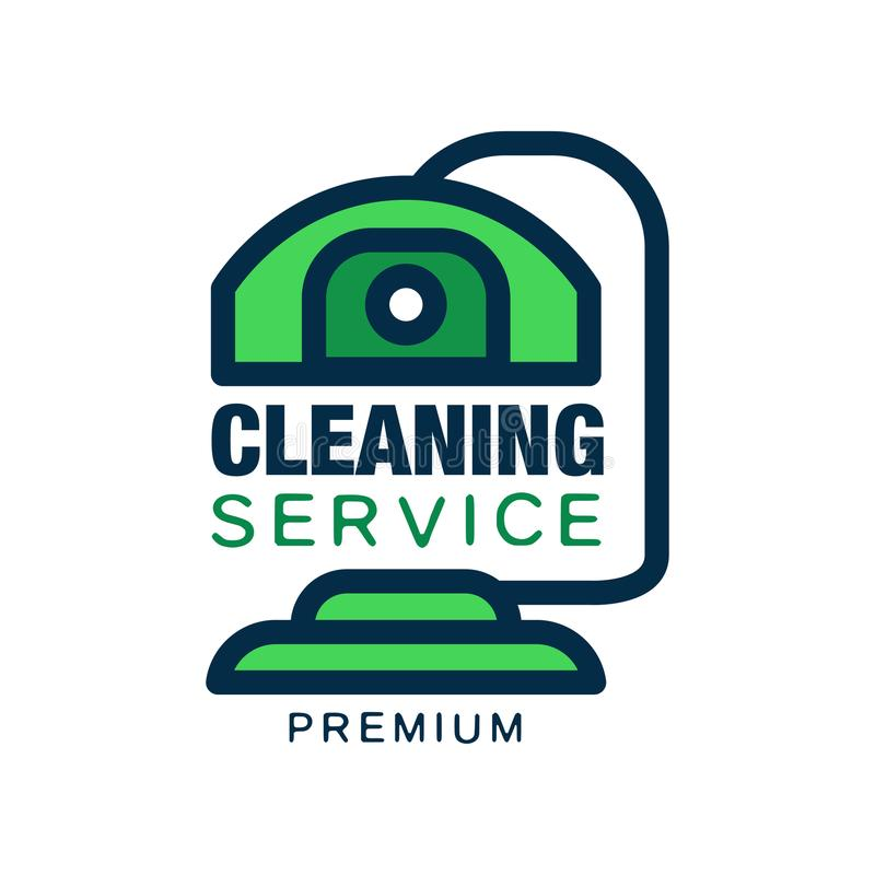 Logo with abstract cleaning device in line style and green fill. Premium quality services. Flat vector symbol. Design stock illustration