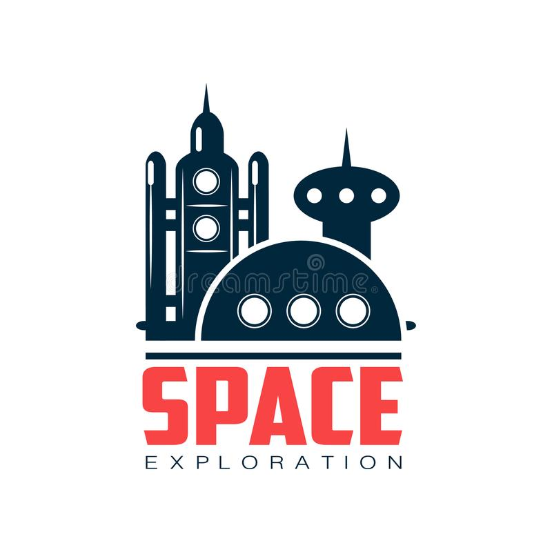 Logo with abstract image of cosmic station. Space shuttle launch. Emblem in dark blue color. Flat vector design for stock illustration