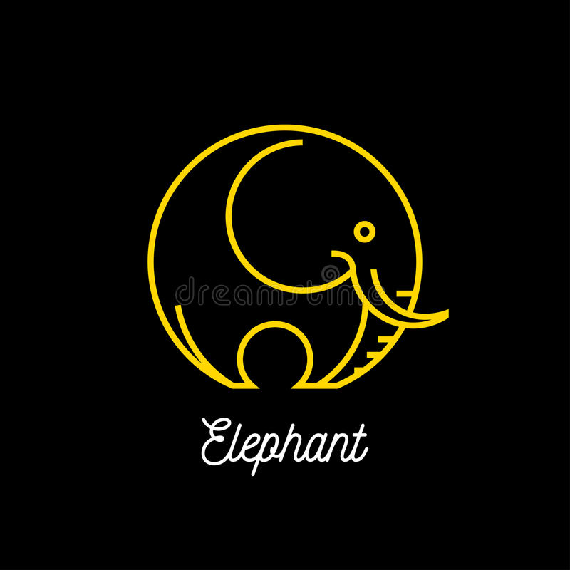 Logo of an abstract yellow line elephant icon on black background stock illustration
