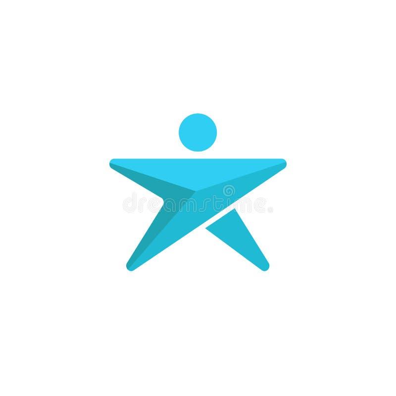 Logo abstrait d'homme en forme d'étoile, succès humain de croissance de direction de silhouette graphique bleue de flèche illustration libre de droits