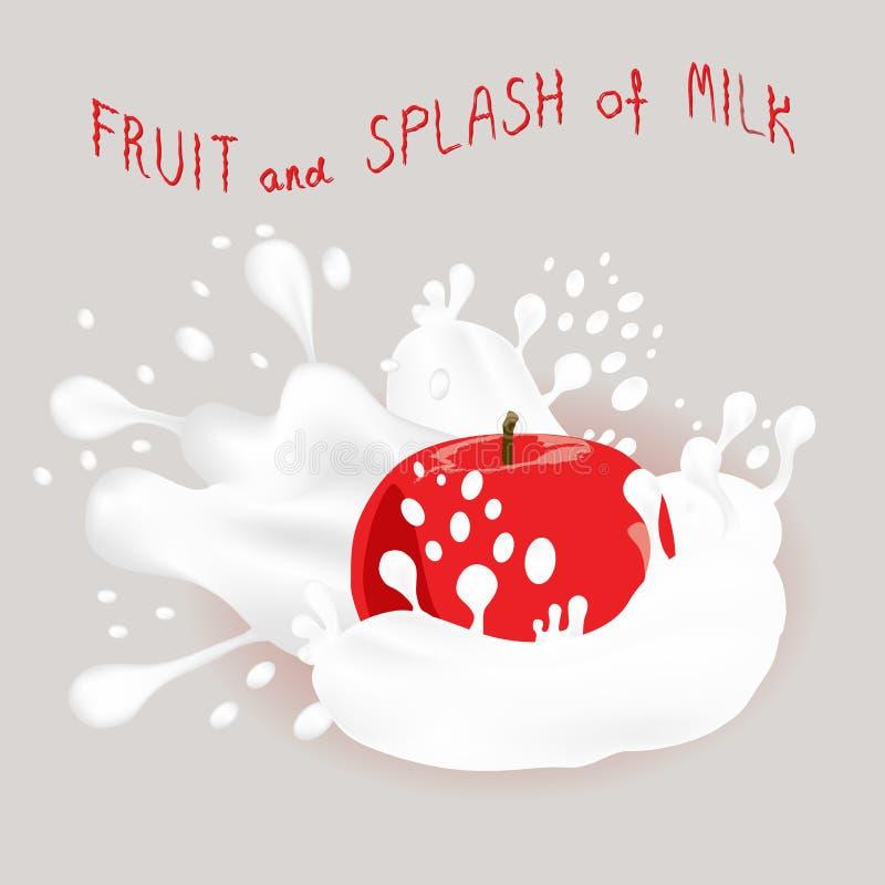 Logo abstrait d'illustration d'icône de vecteur pour la pomme mûre entière de fruit illustration libre de droits