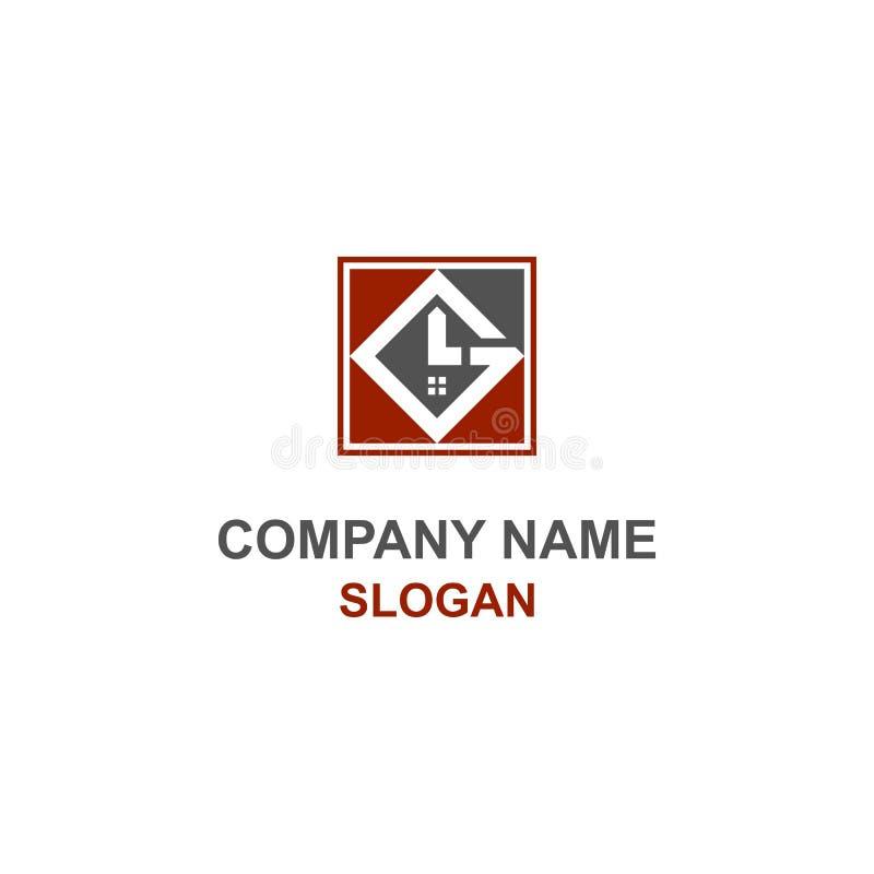 Logo abstrait d'initiale de lettre d'atterrisseur de construction illustration libre de droits