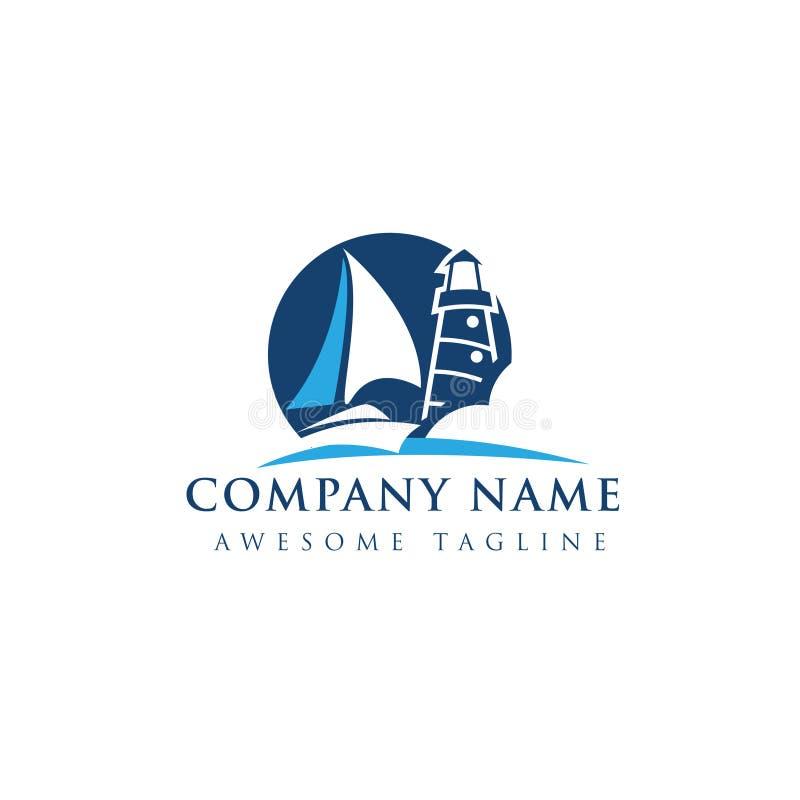 Logo abstrait de bateau et de balise illustration stock