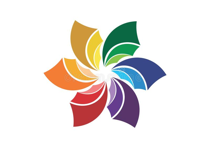 Logo abstrait de fleur, symbole de société, icône sociale d'entreprise de media illustration de vecteur