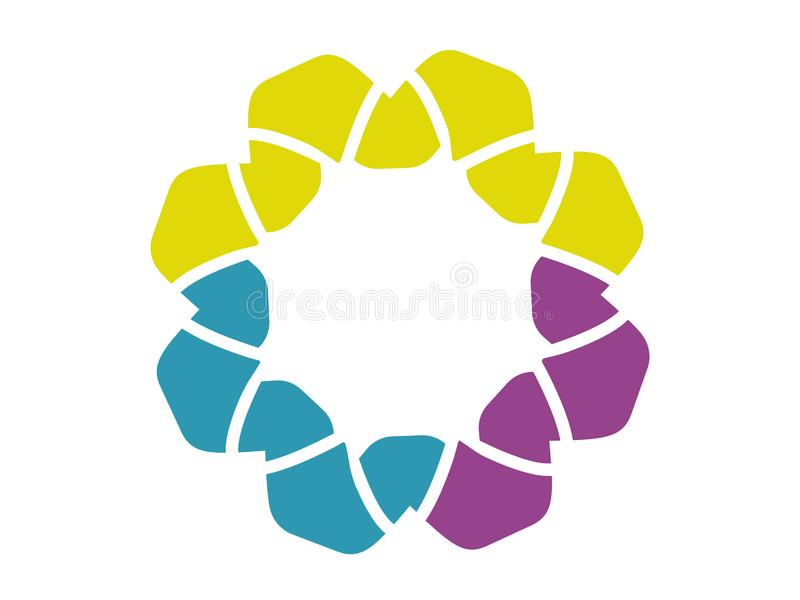 Logo abstrait de fleur, trois couleurs image stock