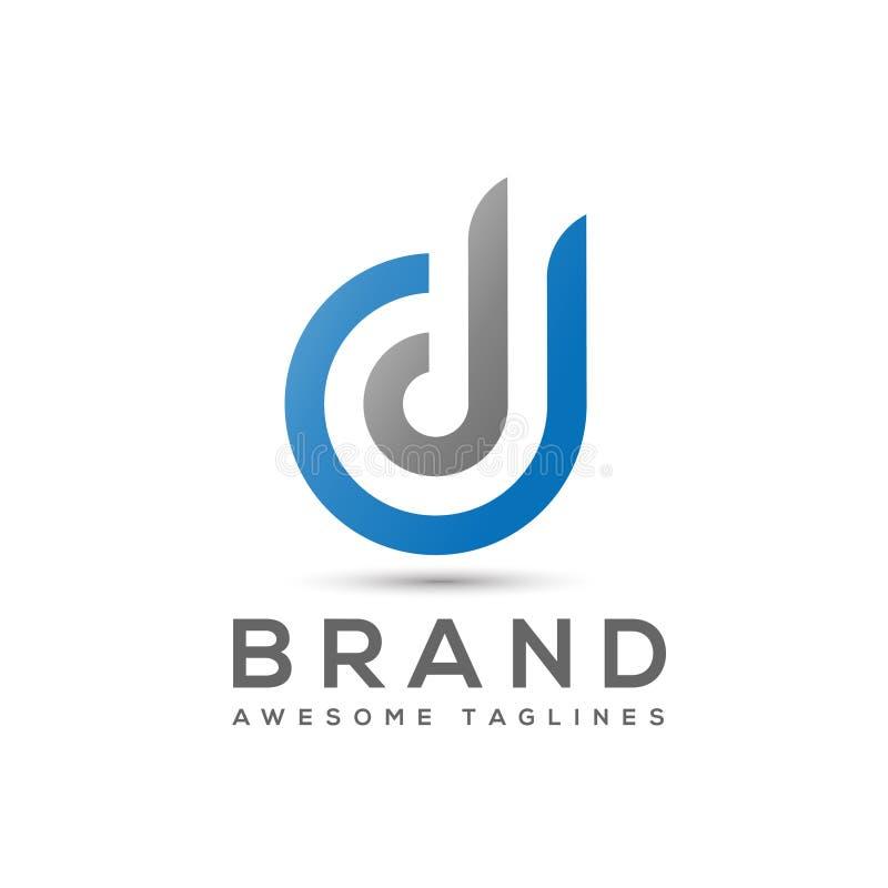 Logo abstrait de la lettre D, vecteur de logo de densité double de lettre illustration libre de droits