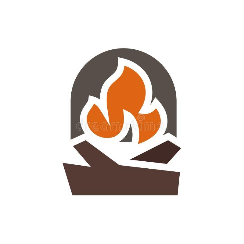 Logo abstrait de marque de cheminée dans le minimalisme illustration libre de droits