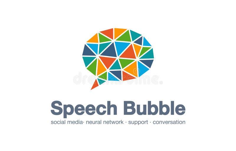 Logo abstrait de société commerciale Marché social de media, réseau, bulle de la parole, idée de logotype de message Ballon de ci illustration stock