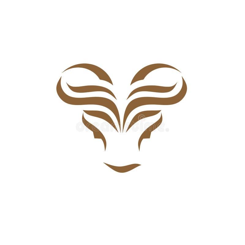 Logo abstrait de tête de taureau illustration libre de droits