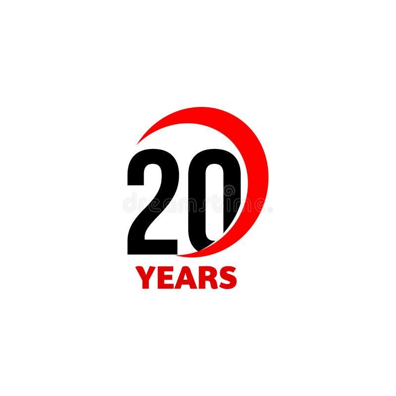 logo abstrait de vecteur de 20ème anniversaire Icône de jour du joyeux anniversaire vingt Nombres noirs dans l'arc rouge avec le  illustration libre de droits