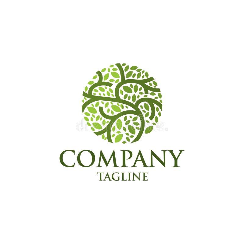Logo abstrait de vecteur d'icône d'arbre de feuille de cercle illustration libre de droits