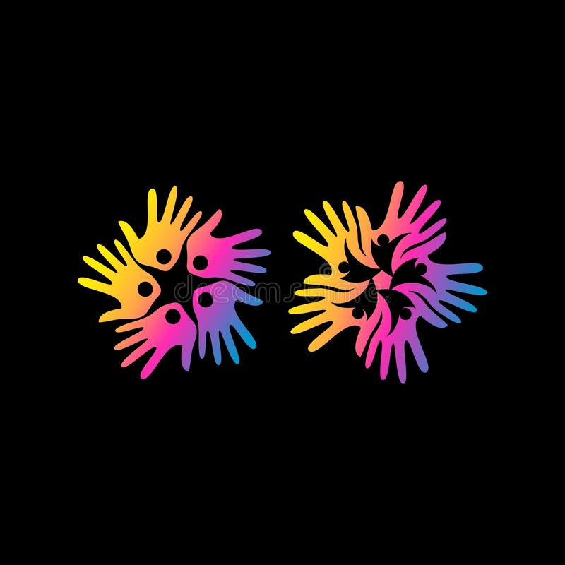 Logo abstrait de vecteur de foule de main illustration de vecteur