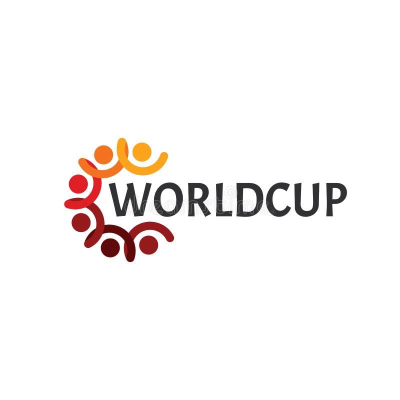 Logo abstrait de worldcup, les gens avec la main et chef, cercle, illustration de vecteur de championnat du football de coupe du  illustration libre de droits