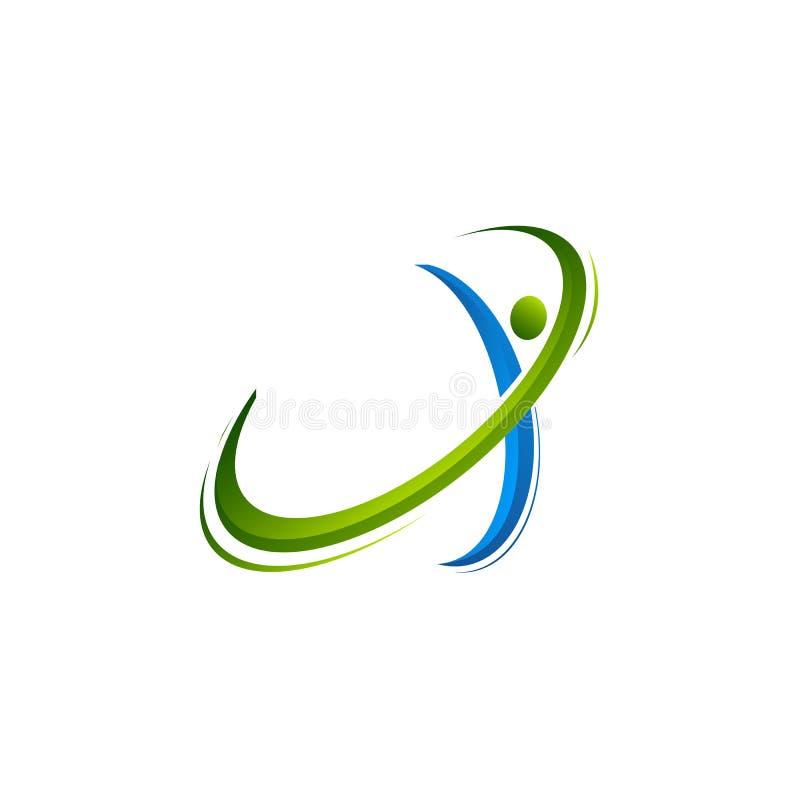 Logo abstrait humain actif de caractères, de forme physique et de santé, illustrations de vecteur de calibre de logo, logo humain illustration de vecteur