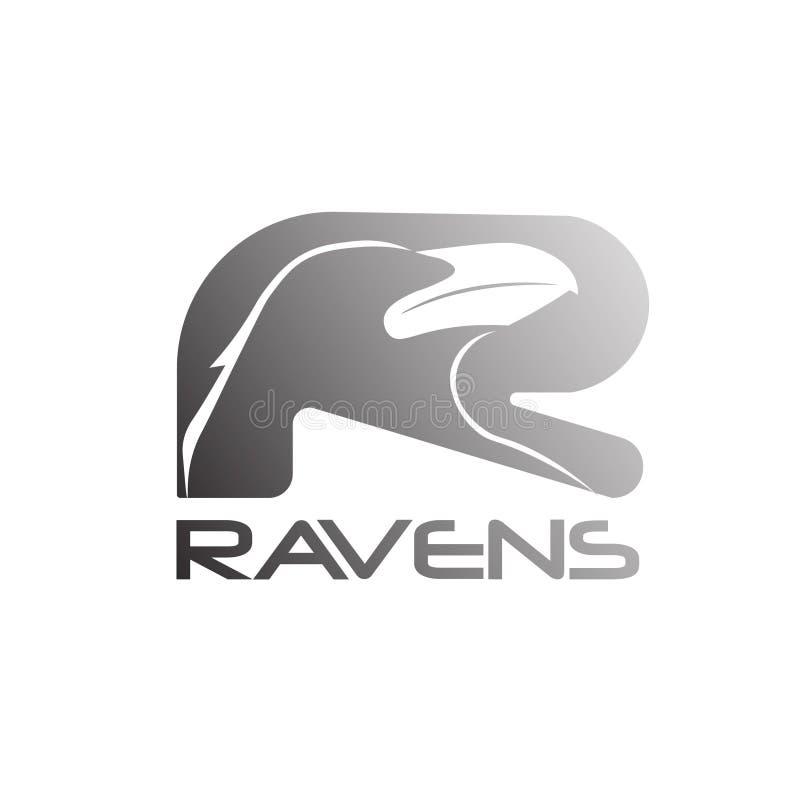 Logo abstrait lumineux 02 de marque de Raven illustration stock