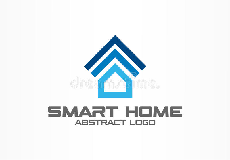 Logo abstrait pour la société commerciale Élément de conception d'identité d'entreprise Système futé de maison, logotype à téléco illustration libre de droits