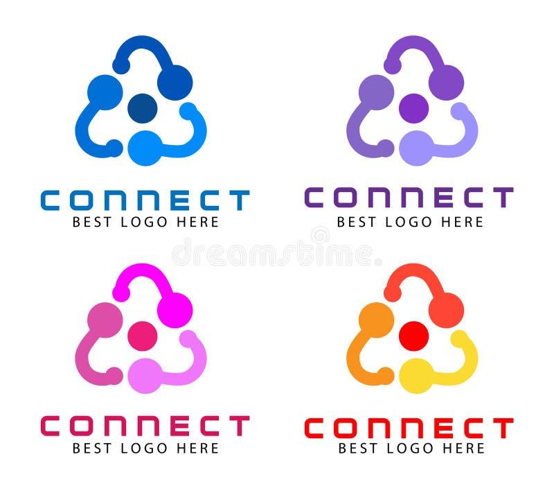 Logo abstrait pour la société commerciale Technologie, idée sociale de Logotype de media Les gens relient, entourent, segmentent, illustration de vecteur